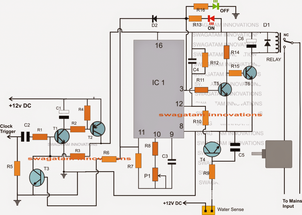 Digital Clock Activated Water Level Controller Circuit