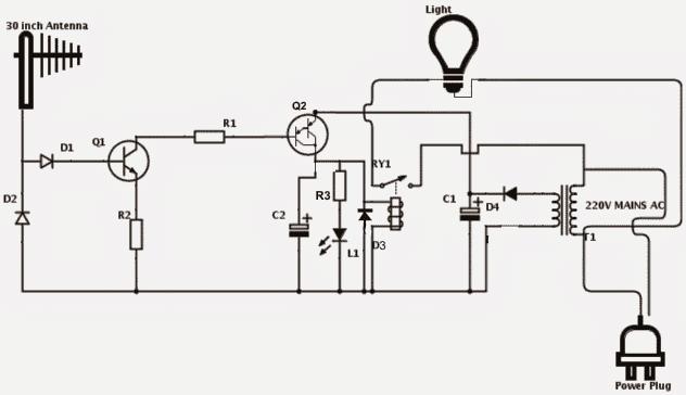 rf detector 1 - Cell Phone Triggered RF Night Lamp Circuit