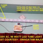 Capacitor Based LED Tubelight Circuit Using 1 Watt LEDs