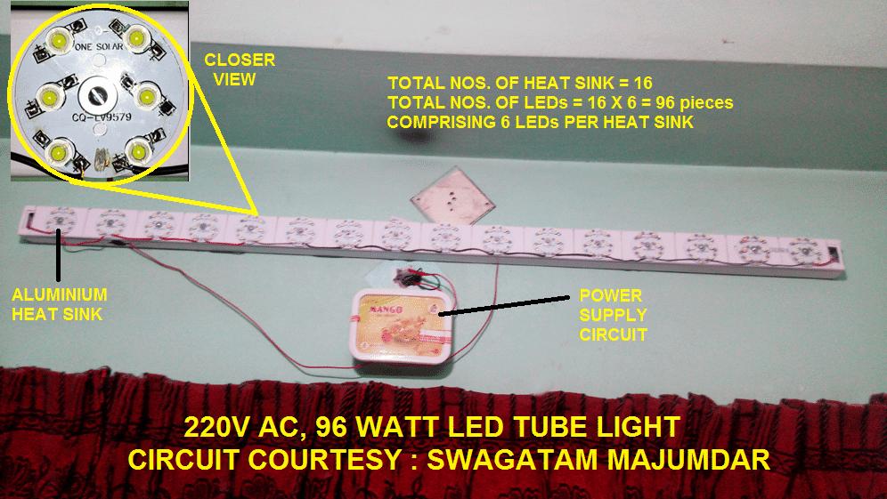 High bright homemade LED tubelight using 1 watt LEDs
