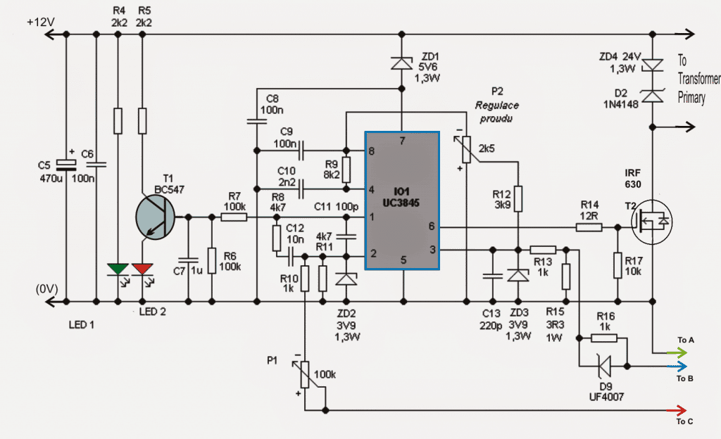 High current 0-100V, Adjustable Switch Mode Power Supply SMPS circuit