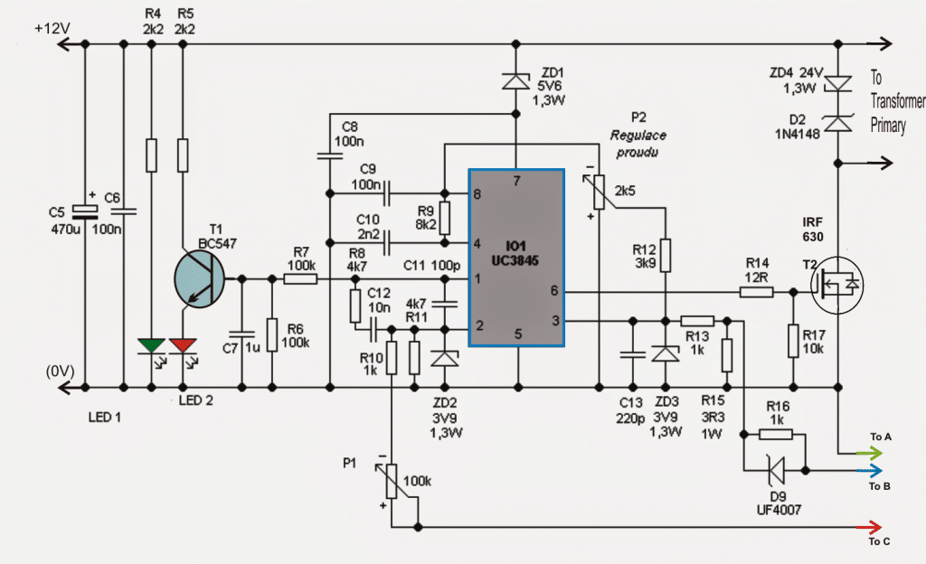 Adjustable 0-100V 50 Amp SMPS Circuit