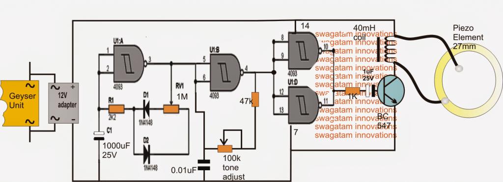 Simple Water Heater Alarm Circuit