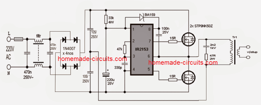 SMPS Halogen Lamp Transformer Circuit | Homemade Circuit ... on