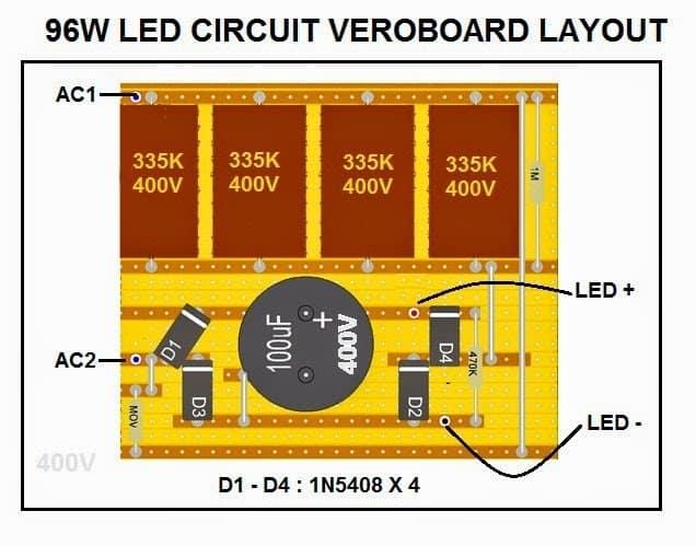 96 watt compact LED driver circuit PCB