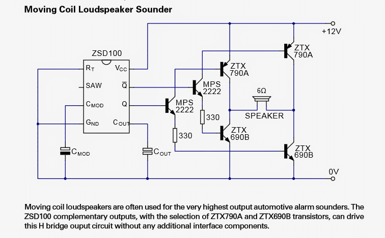 Alarm Signal Generator IC ZSD100 Datasheet, Application