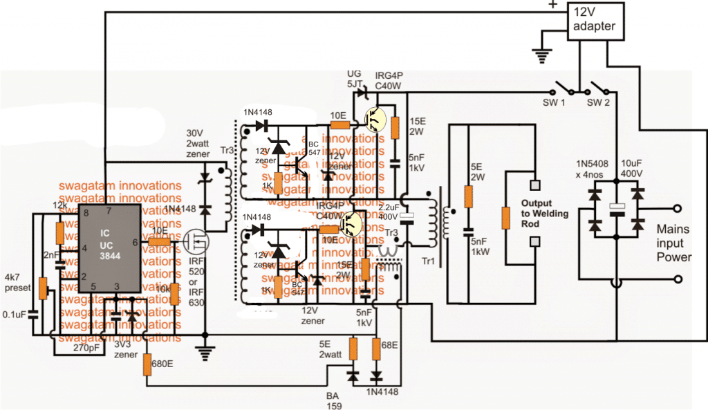 Welding Inverter Circuit Diagram Control Wiring Arc Machine Switch Mode Schematic