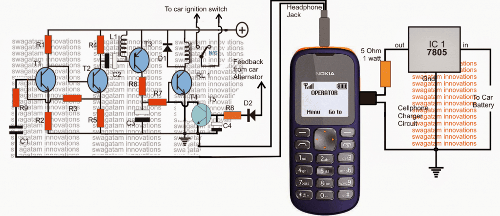 Cellphone Controlled Car Ignition Starter Circuit