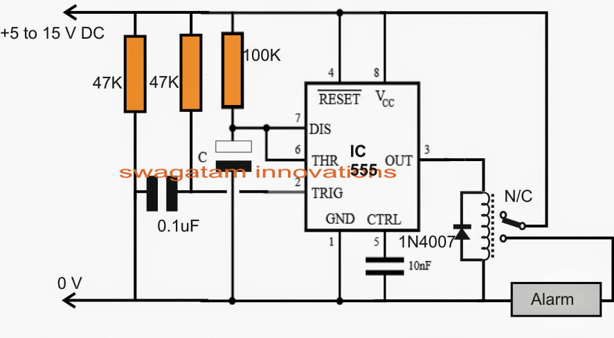 monostable relay IC 555 circuit adjustable timing