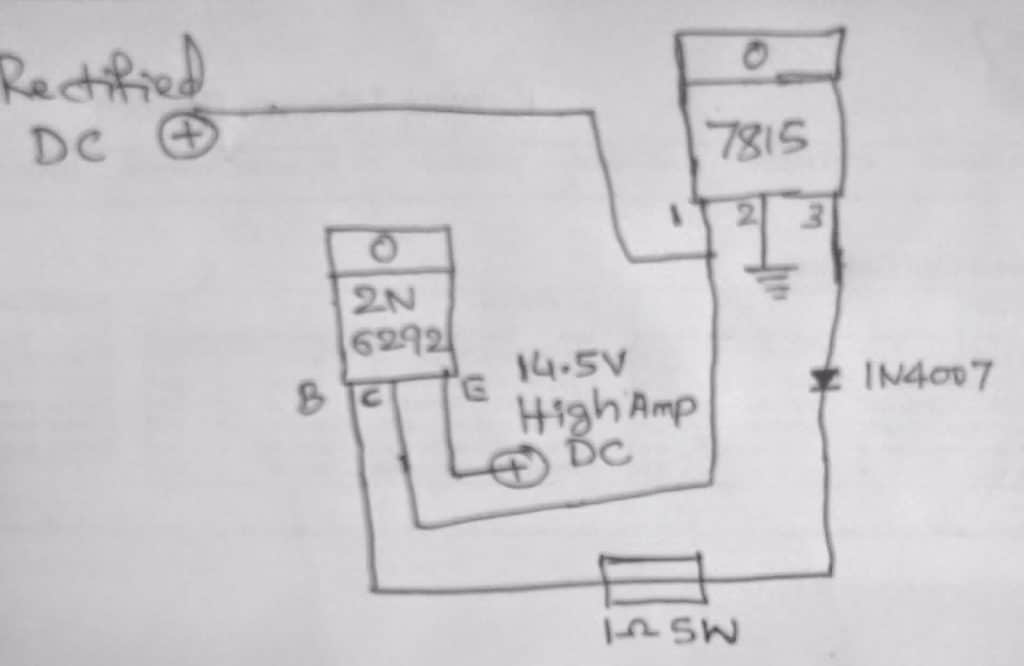 singletransistorautobatterychargerwithcutoff - Single Transistor High Current Battery Charger Circuit