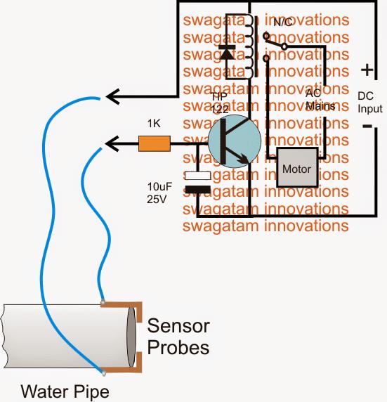 municipal water supply sensor pump controller circuit rh homemade circuits com water temperature sensor circuit diagram simple water sensor circuit diagram