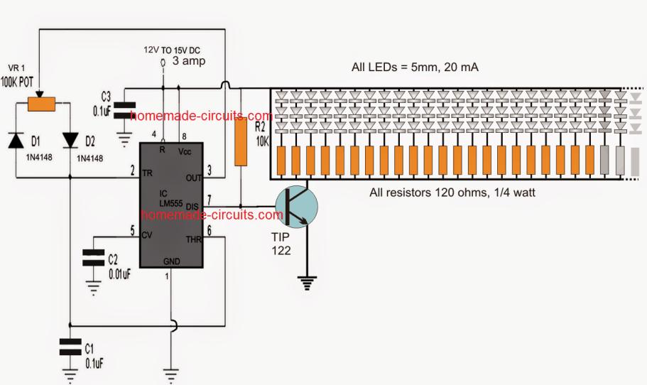 Led Tubelight Circuit Using 1 Watt Leds Electronic Circuit Projects