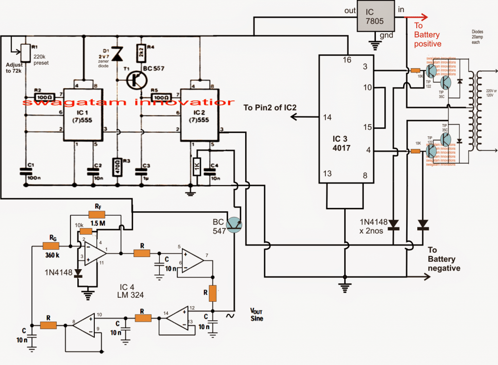 sine wave inverter using bubba oscillator circuit
