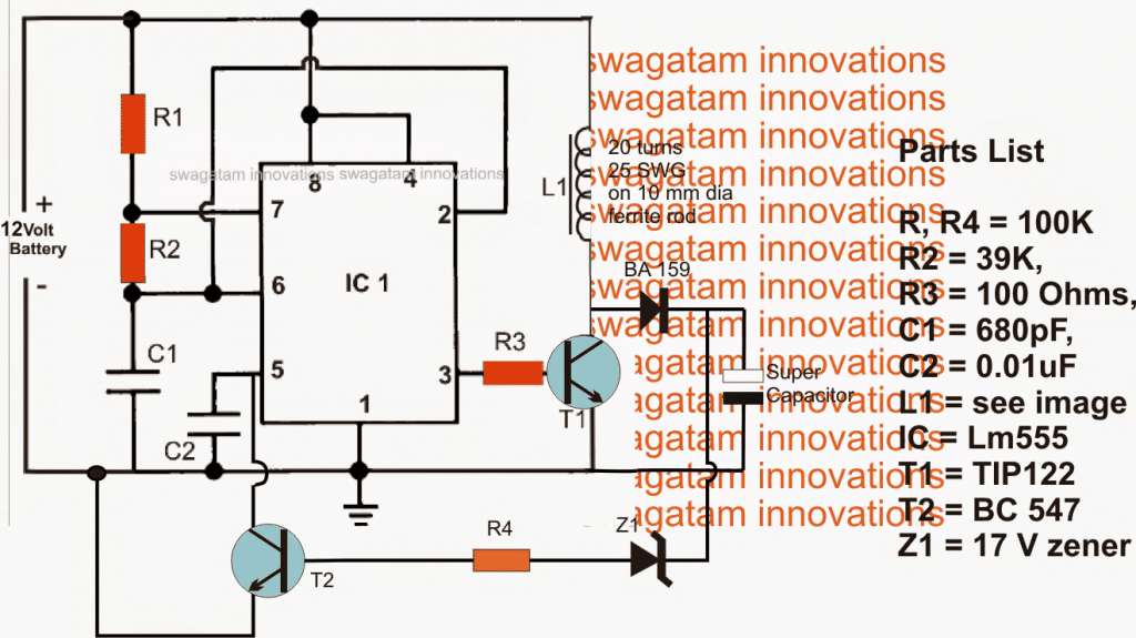 supercapacitor charger circuit using IC 555 boost converter