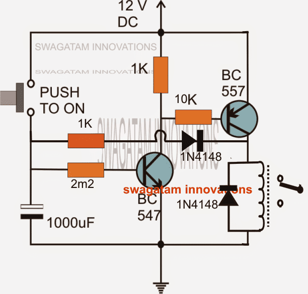 long duration timer circuit using transistors only