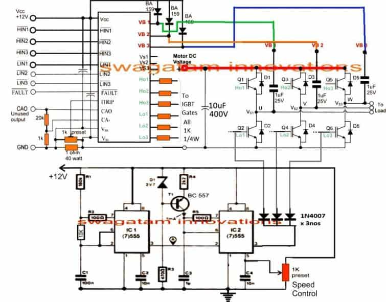 How to Make a 3 Phase VFD Circuit | Homemade Circuit Projects Vfd Wiring Diagram Og Outputs on