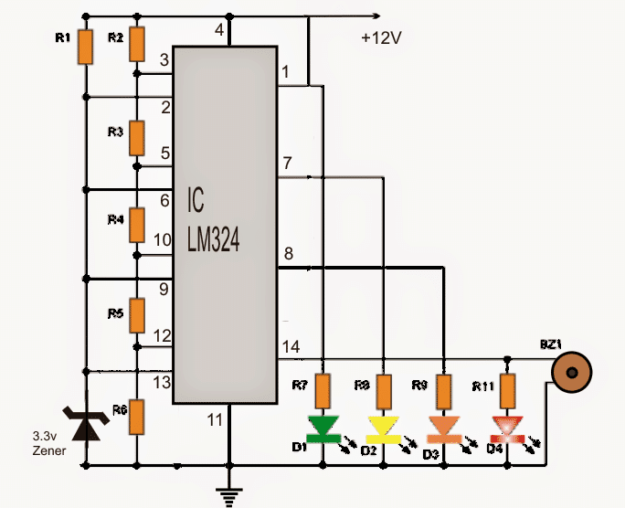 Car Battery Voltage Monitor Circuit using LEDs and IC LM324
