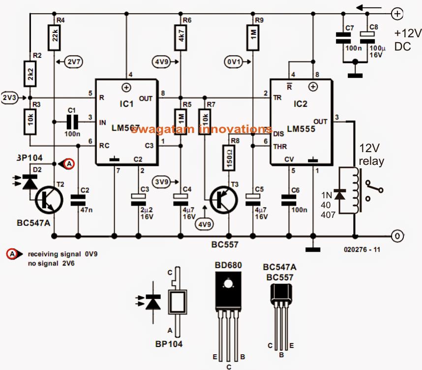 Model Locomotive Infrared Controller Circuit