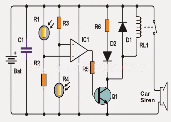 Simple Shadow Sensor Alarm Circuit