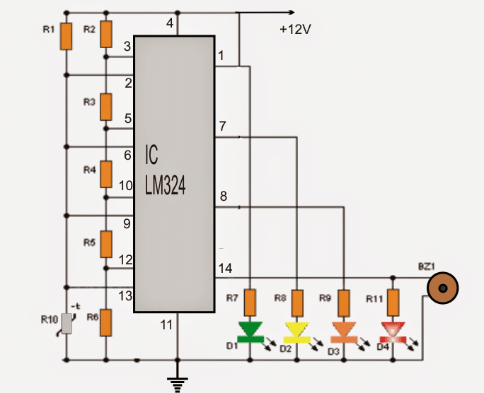 4 led temperature indicator circuit