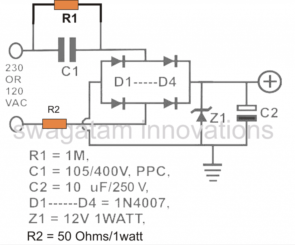 Led Emergency Light Circuit Diagram Without Transformer Wiring Calculating Capacitor Current In Transformerless Power Supplies