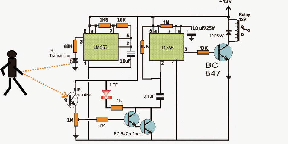 simple proximity detector using ic 555 complete working simple circuit diagram of power bank for mobile simple electromagnet diagram #6