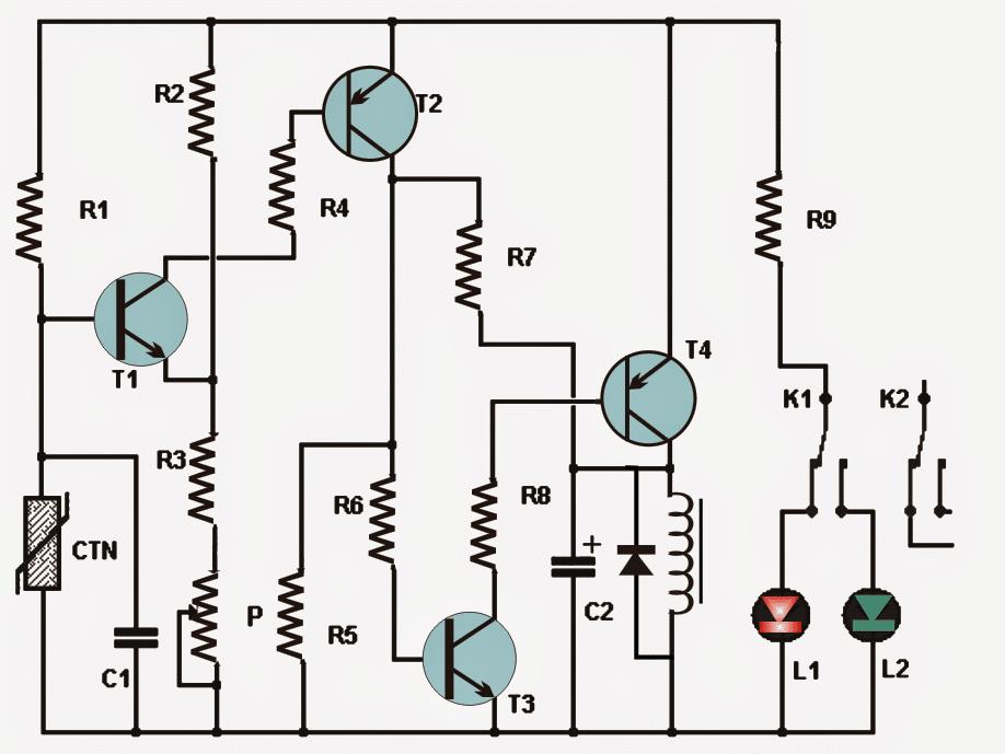Simple Thermostat Circuit Using Transistors