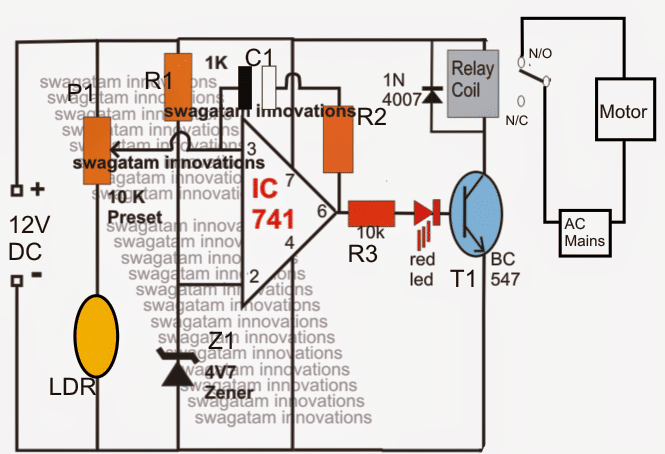 Light Activated Water Level Controller Circuit