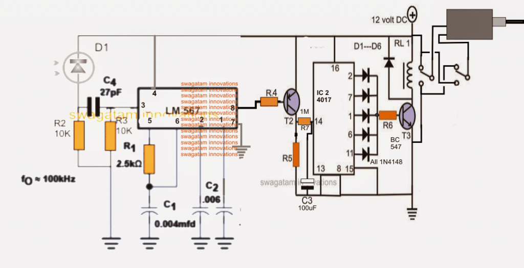 Infrared Remote Controlled Door Lock Circuit