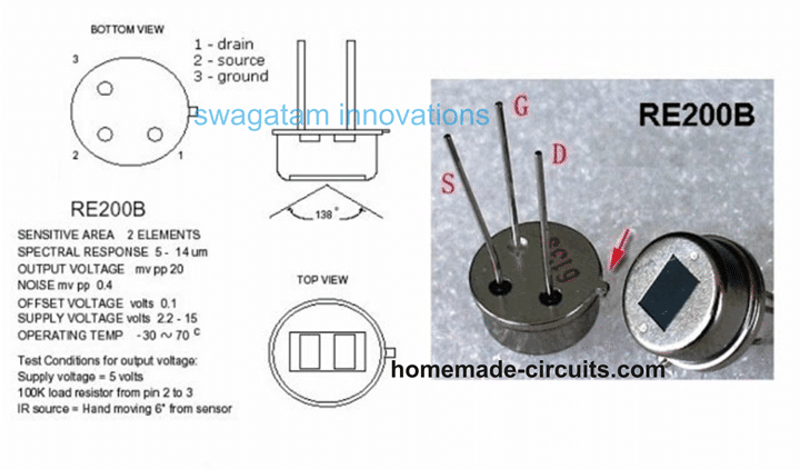 actual PIR device pinout and internal details