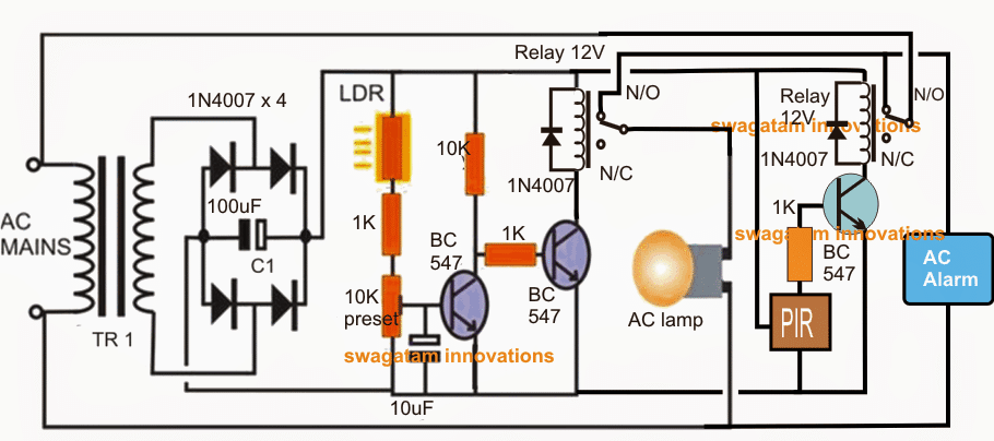 PIR alarm with light circuit with day night automatic switching action