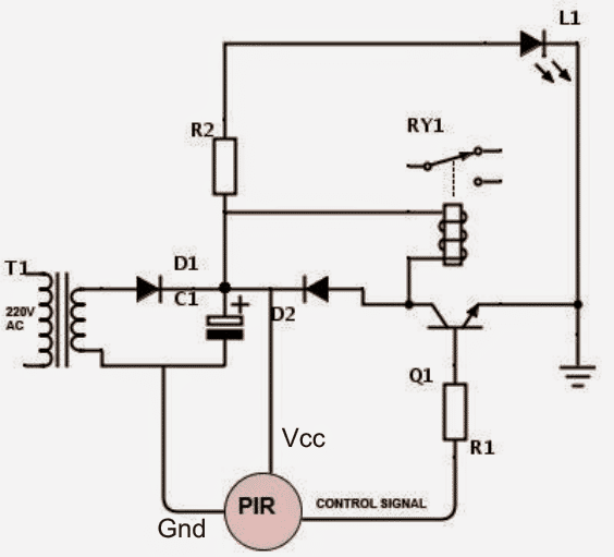 single transistor PIR relay activate circuit