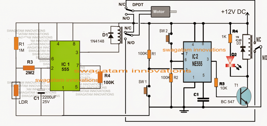 automatic light activated door circuit