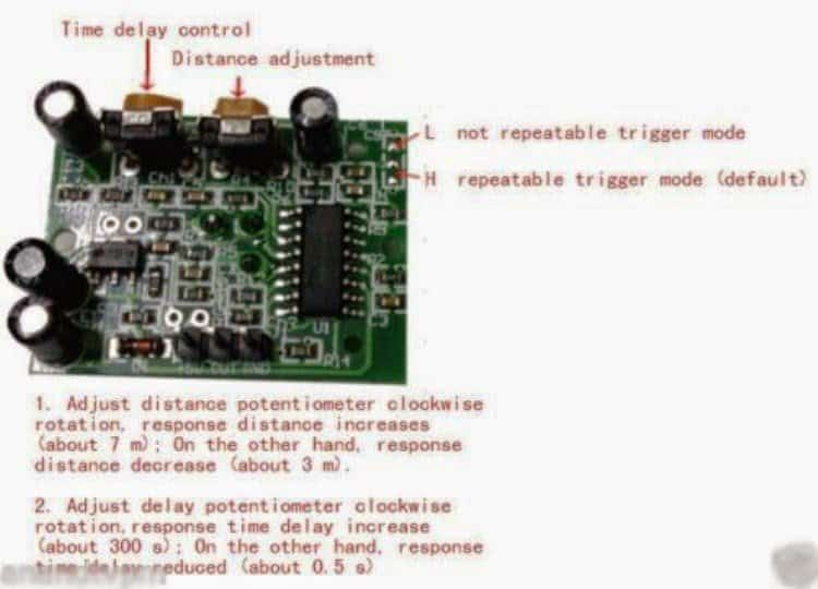 PIR module preset adjustments details