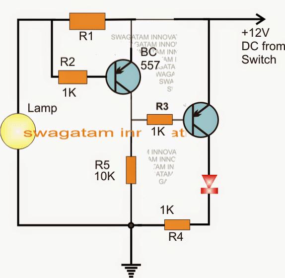 Car brake light lamp blown fused indicator circuit using transistors