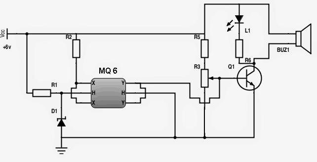 gas leakage sensor circuit with alarm