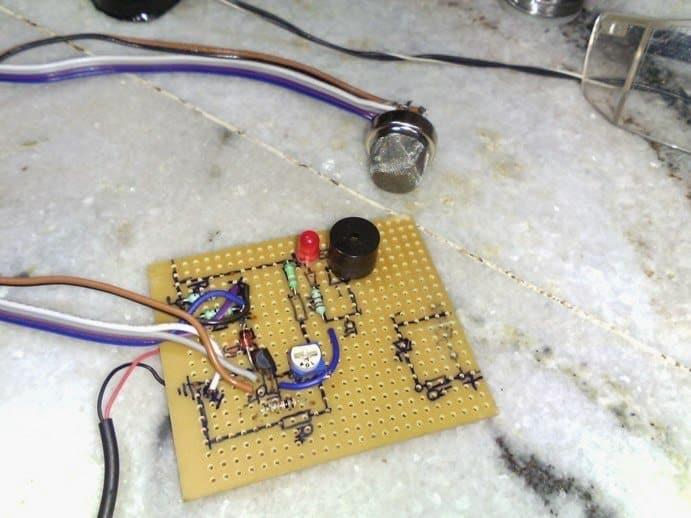 gas leakage sensor prototype PCB image