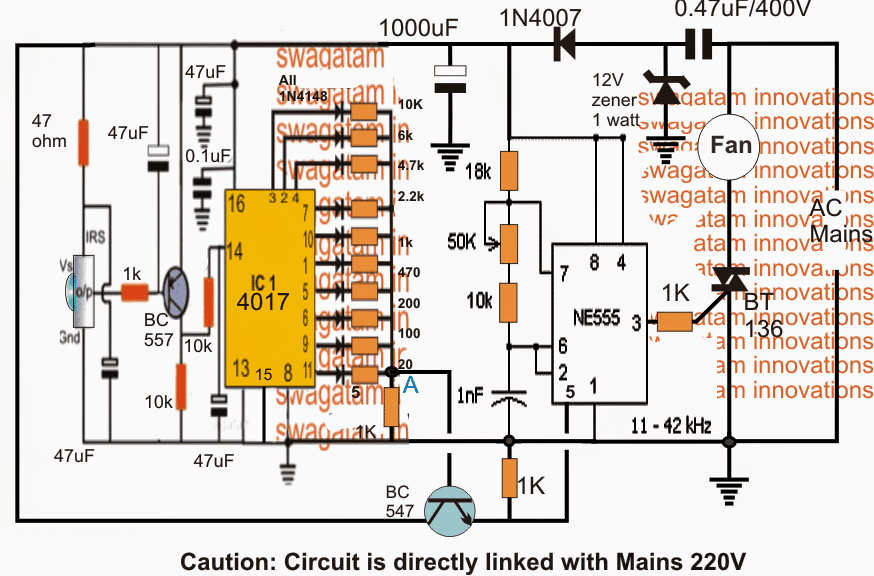 Infrared Remote controlled Fan Regulator Dimmer circuit