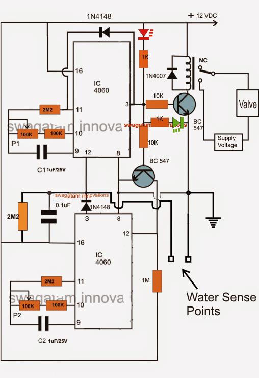 Water Flow Valve Timer Controller Circuit