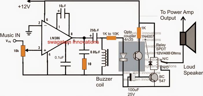 Music Triggered Amplifier Speaker Circuit