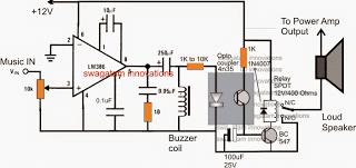 music triggered, activated amplifier loudspeaker circuit