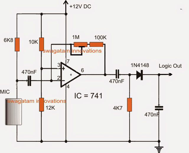Simple Ultrasonic Sound Sensor Alarm Circuit using Opamp