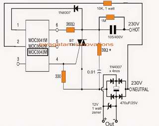 surge free transformerless power supply circuit using zero crossing controlled triac driver MOC3041