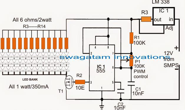 PWM LED Light Intensity Controller Circuit
