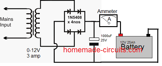 basic battery charger circuit using transformer and rectifier
