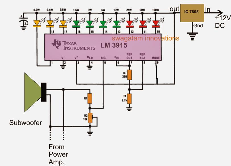Subwoofer Music Level Indicator Circuit
