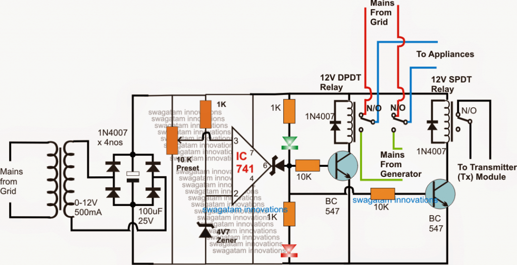 Remote Controlled ATS Circuit – Wireless Grid/Generator Changeover