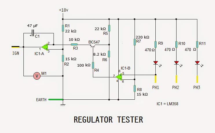 Motorcycle Regulator, Rectifier Tester Circuit