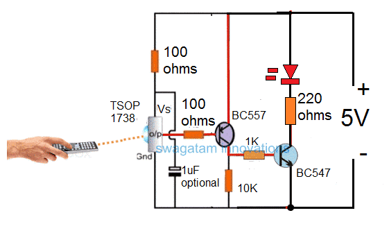 Basic TSOP1738 connection in a circuit