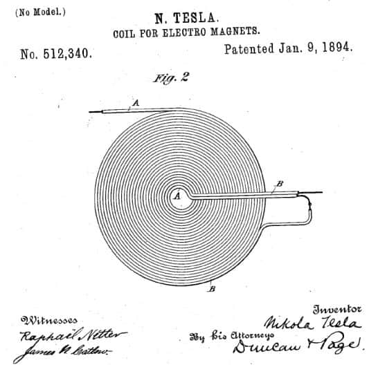 tesla's pancake coil for wireless electricity transfer